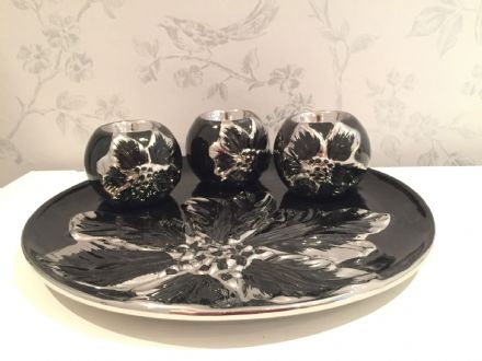 Black and Silver Floral Ceramic Plate with 3 Ball Candle Holders